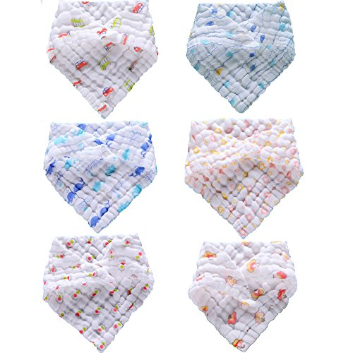 Lucear Muslin Baby Bandana Drool Bibs with Snaps (6-Pack) ,Baby Gift Set for Drooling and Teething, Cute Unisex Bibs for Boys and Girls.