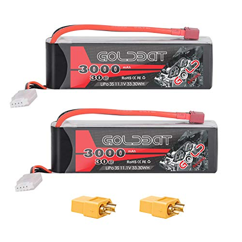 GOLDBAT 3S 11.1V 3000mAh 30C Lipo Battery with Dean-Style T (XT60) Connector for RC Car Airplane Helicopter Boat Drone FPV and Quadcopter Radio Control Toy (2 Packs) ()