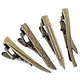 BMC Mens 4pc Stainless Steel Mixed Design Random Themed Tie Clip Set - Brushed Brass