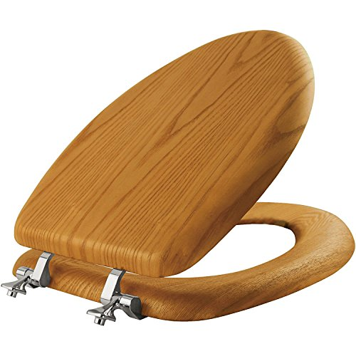 Wood Bathroom - MAYFAIR Natural Oak Veneer Toilet Seat with Chrome Hinges, ELONGATED, 19601CP