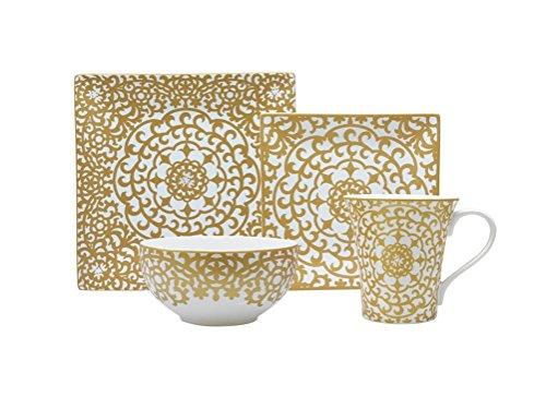 222 Fifth 1154GD799A1 Casbah 16 Piece Dinnerware Set, Gold