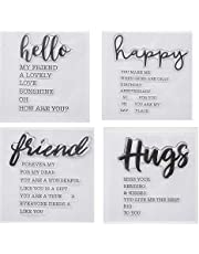 Welcome to Joyful 4pcs/Set Hello Happy Hugs Friend Sentiment Background Clear Stamp for Card Making Decoration and Scrapbooking 11x16cm