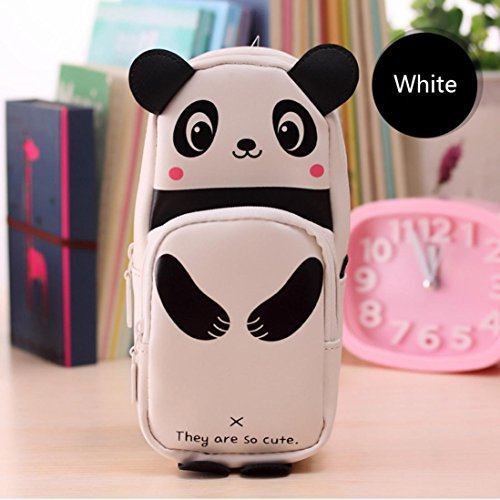 Gbell Kawaii 3D Panda Pencil Case with Compartments, Large Capacity Pencil Box School Supplies Novelty Item for Girls Adults (White)
