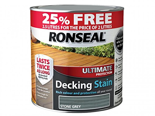 Ronseal RSLUDSSG2LAV Ultimate Decking Stain Stone, Grey, 2.5 Litre