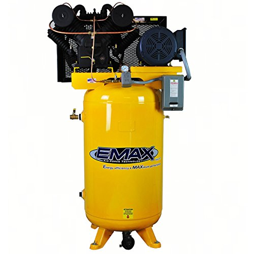 7.5 HP Quiet Air Compressor, Vertical, 2-Stage, 3 PH, 80 Gallon, Industrial Plus Series, Model EP07V080V3 by EMAX Compressor