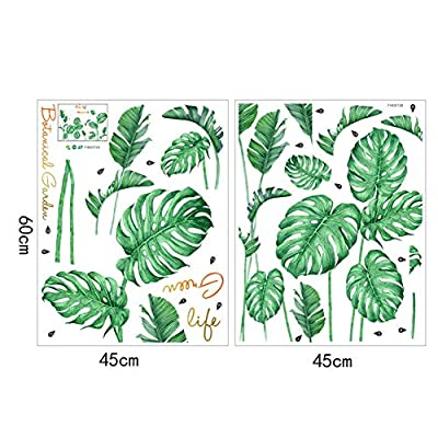 Beher Leaf Wall Decals, Removable Tropical Plants Tree Leaves Stickers for Kids Nursery Room Decor DIY Nodic Style Bedroom Decoration Wall Stickers: Kitchen & Dining