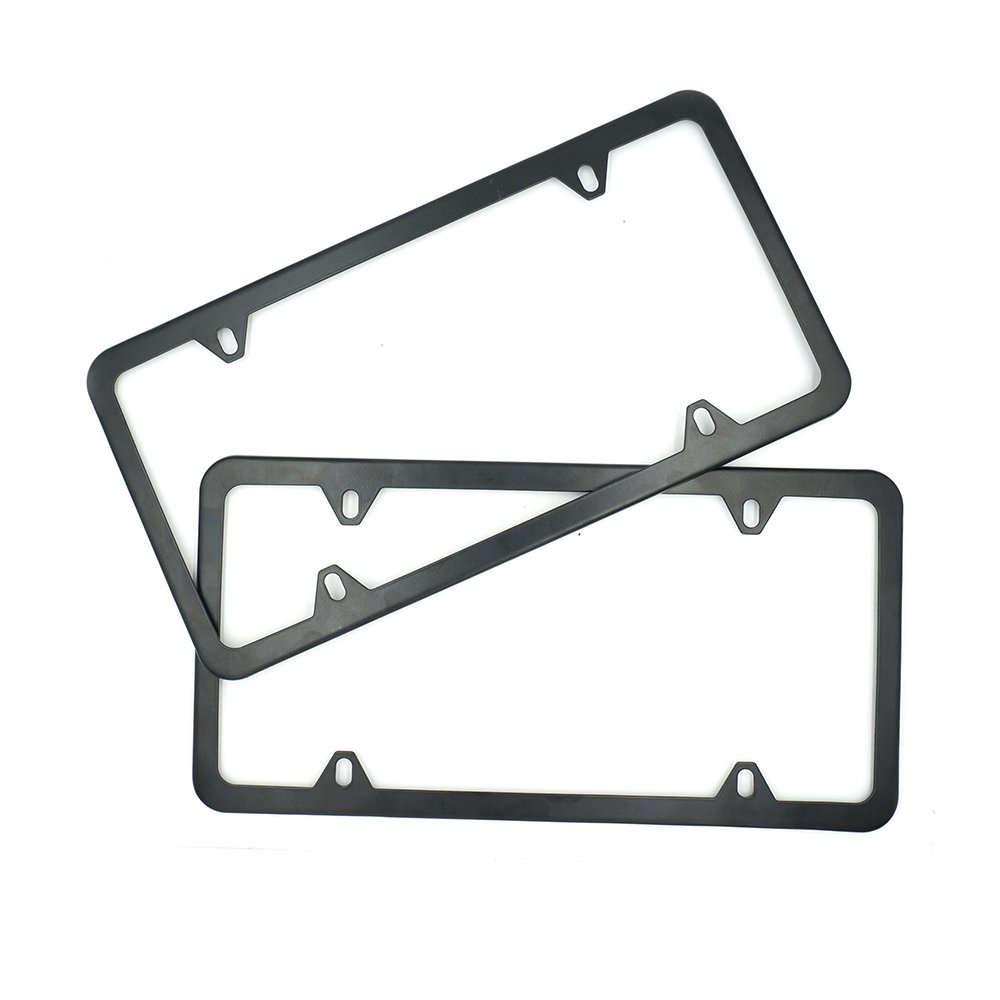 Indeedbuy 2017 Newest 2 Pcs 4 Holes Stainless Steel Black License Plate Frame