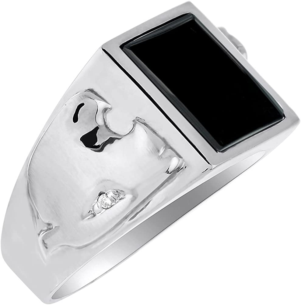 Onyx /& Diamond Mens Ring Sterling Silver or Yellow Gold Plated Silver