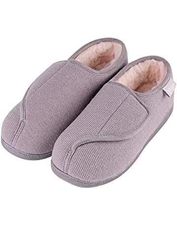 d2647adc441ef LongBay Women's Wide Fit Memory Foam Diabetic Slippers Comfy Cozy Arthritis  Edema House Shoes