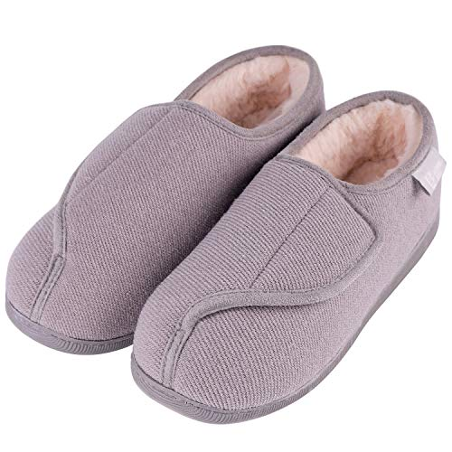 Shoes Feet Wide Womens - LongBay Women's Furry Memory Foam Diabetic Slippers Comfy Cozy Arthritis Edema House Shoes (9 B(M) US, Gray)