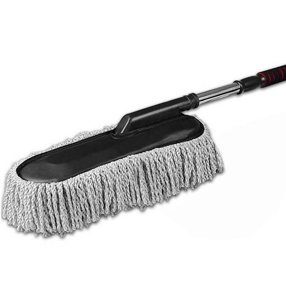 Lupure Car Big Duster Wash Brush, Long Retractable/Soft/Non-Slip/Handle to Trap Dust and Pollen Microfiber Exterior Interior Wash Cleaner Brush,Grey