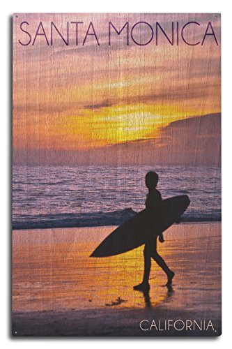Lantern Press Santa Monica, California - Surfer and Sunset (10x15 Wood Wall Sign, Wall Decor Ready to - Sign Surfer Wood