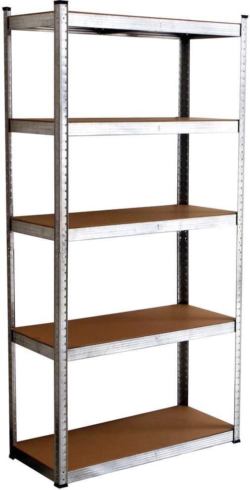 VERDELOOK Scaffale in metallo con 5 ripiani in legno 90x40x180cm