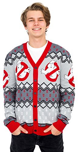 Mighty Fine Ghostbusters Logo Ugly Christmas Cardigan Sweater (Adult X-Large)