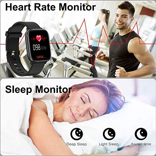 """Fitness Tracker, FirYawee Smart Watch for Android Phones,1.4"""" Touch Screen IP68 Waterproof Smartwatch with Heart Rate Monitor Sleep Monitor, Step/Distance/Calorie Counter Fitness Watch for Women Men 5"""
