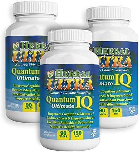 Quantum IQ - 270 Vcaps Kesum Turmeric Curry Leaf Brain Memory Supplement, Vegan Focus Vitamins C and E - Quantum IQ Ultimate - Herbal Ultra