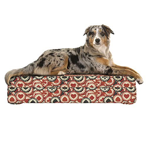 (Lunarable Casino Dog Bed, Poker Chips Metropolitan Life Dollar Currency Wealth Winning Enjoy, Dog Pillow with High Resilience Visco Foam for Pets, 32