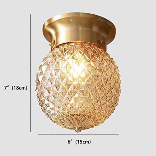 NOXARTE Pineapple Style Ceiling Light Art Design Brass Body Glass Shade Flush Mount Ceiling Lamp Lighting Fixture for Bathroom, Foyer, Hallway by NOXARTE (Image #5)