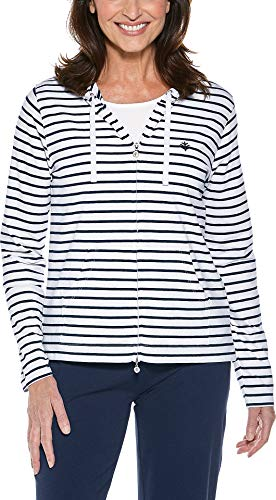 - Coolibar UPF 50+ Women's Seaside Hoodie - Sun Protective,Medium,Navy/White Stripe