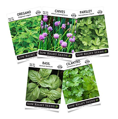 Sow Right Seeds - Herb Garden Seed Collection - Basil, Chives, Cilantro, Oregano, Parsley Seeds for Planting; 5 Individual Packets