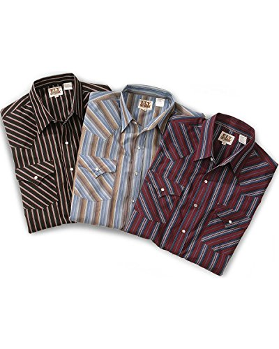 Ely Cattleman Men's Assorted Plaid Or Stripe Short Sleeve Western Shirt Big Stripe XXX-Large Tall (Tall Shirt Western Stripe)