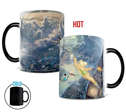 Morphing Mugs Thomas Kinkade Disney Tinker Bell and Peter Pan Fly to Neverland Heat Reveal Ceramic Coffee Mug - 11 Ounces ()