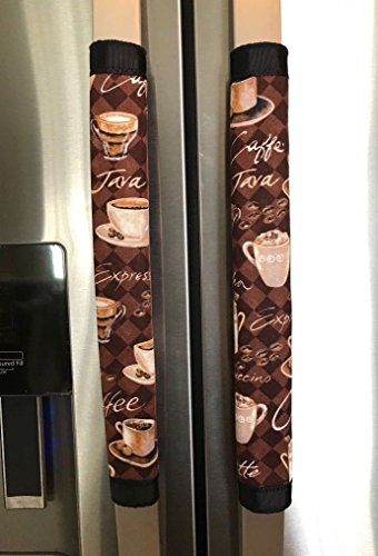 Theme Door (Refrigerator Door Handle Covers Set of Two Brown Coffee Theme 13 Long BY 4.5-5 Wide)