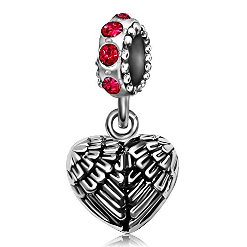 JMQJewelry Angel Wings Heart Feathers Guardian Pendant July Red Birthstone Charms For Bracelets