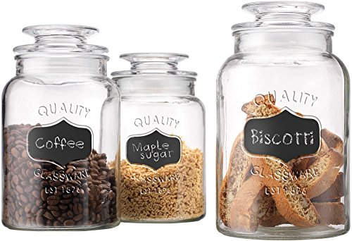 Home Essentials 1470-1025S Quality Canister, Clear Glass, Chalkboard Jar with Tight Lids for Bathroom or Kitchen Food Storage Containers, Round, Set of 3, 34/43/54-oz, Multicolor