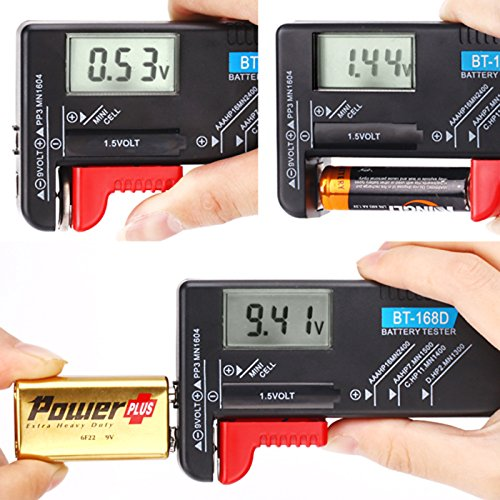 HDE Digital Alkaline Battery Tester for Small Batteries Volt Checker Tool for AA, AAA, C, D, 9v, Cell