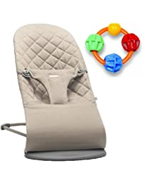 Baby Bjorn Bliss Bouncer - Sand Grey with Click Clack Balls Teether BOBEBE Online Baby Store From New York to Miami and Los Angeles