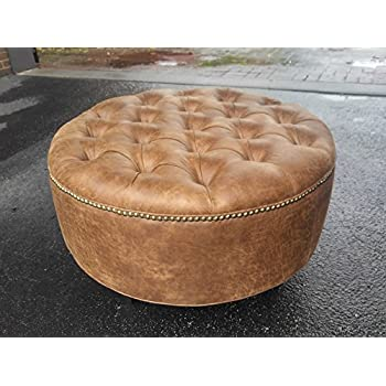 "30"" Distressed Vegan Leather, Tufted Coffee Table Ottoman"