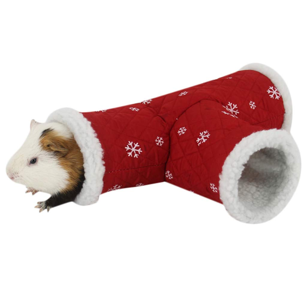 Sikye Christmas Pet Nest - Pet Hamster Tunnel - 3 Way Play Toy Tube Fun for Rabbits, Kittens,Hamster Sweet Room (Red)