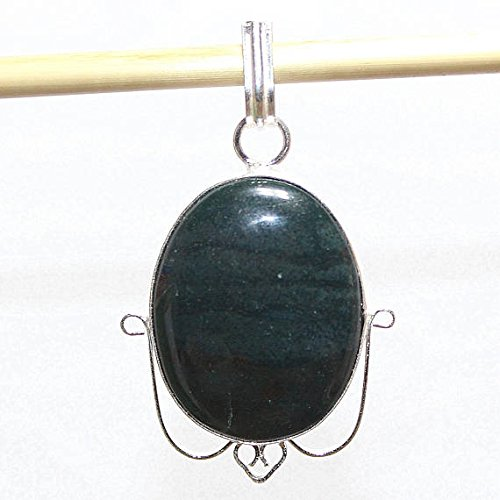 Green Moss Agate Oval Silver Overlay Pendant Fashion Jewellery Designer Fancy Jewelry 2 Inches