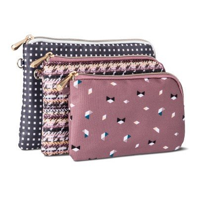 Sonia Kashuk153; Cosmetic Bag Purse Kit Broken Houndstooth Mix - 3pc MULTI-COLORED