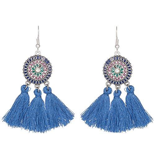 LAMEIDA Ethnic Boho Style Earrings Flower Tassel Pendant Dangle Earrings Ear Studs Jewelry Accessories for Women Girls Birthday Festival Party Gift -
