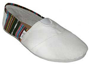 Easy USA Womens Classic Canvas Slip On Casual Shoe (5, white)