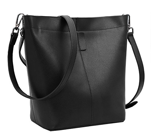 Iswee Leather Bag For Women Fashion Purse Handbag Bucket Bag Tote Bag (Black) by Iswee