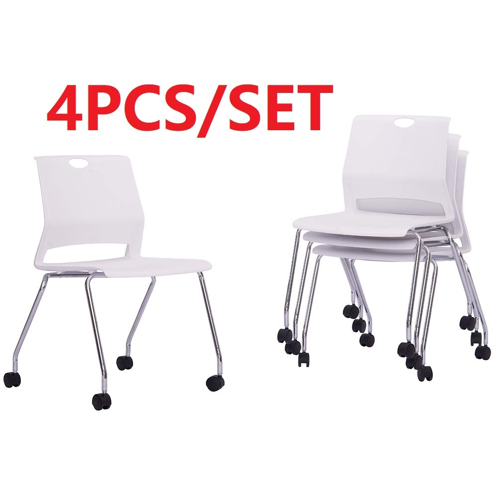 Sidanli Conference Room Chairs with Wheels- White (Set of 4) by Sidanli