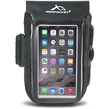 "Armpocket AQUA 100% Waterproof Phone Armband, Black, Medium Strap - Fits iPhone 8/7/6, Galaxy S7, or phones up to 5.75"""