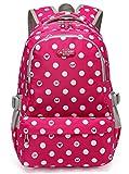 Cheap Polka Dots Lightweight Girls School Bags for Kids Elementary School Backpacks for Girls Bookbags (Medium, Rose Red 2)