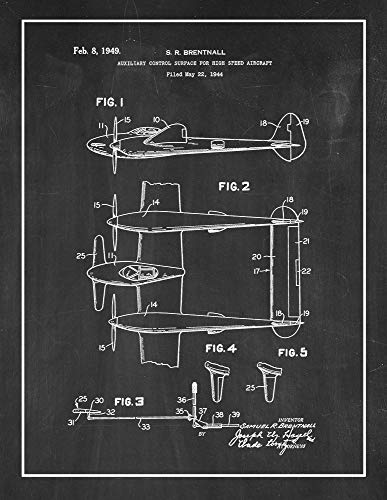 Auxiliary Control Surface for Highspeed Aircraft Patent Print Chalkboard with Border (5