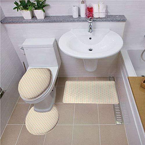 Toilet carpet floor mat,Polka Dots,Retro Polka Dots Small Coin Sized Little Spots Old Epochs Fashion Pattern,Cream Blue Pink ,Bath mat set Round-Shaped Toilet Mat Area Rug Toilet Lid Covers 3PCS
