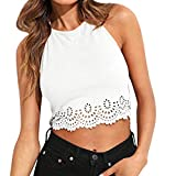 Women Vests Sexy Vest Scallop Cut Hollow Out Tank Tops Solid Suede Halter Fashion O-Neck Sleevelsee Top Blouse White