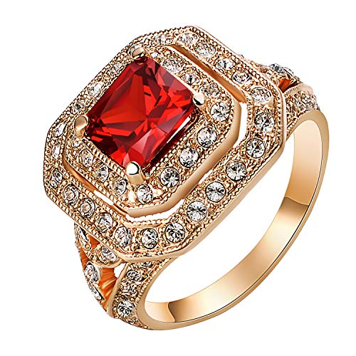 (Yoursfs Red Stone CZ Ring for Women Luxury Crystal Artificial Ruby Engagement Costume Cocktail Ring (Size 7))