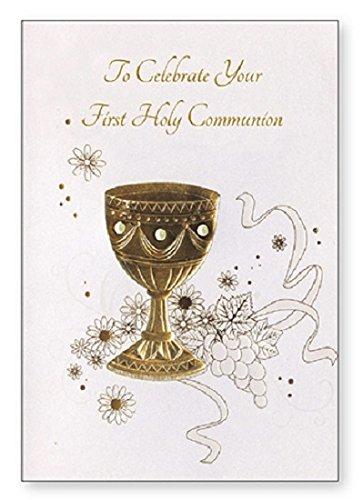Primera Comunión tarjeta de felicitación - gran cáliz de oro ...