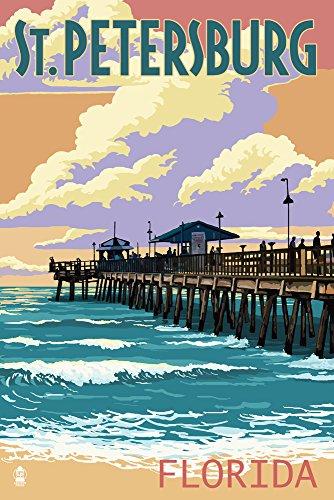 St Petersburg, Florida - Pier and Sunset (9x12 Art Print, Wall Decor Travel Poster)