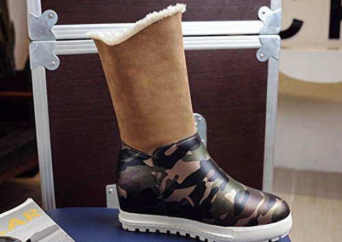 boots cowboy Winter snow leather female increase camouflage warm boots 90160CM round stealth LIGHTBROWN NSXZ HPwqdYq