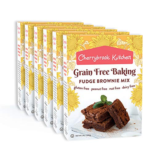 Cherrybrook Kitchen Gluten Free Fudge Brownie Mix Grain Free - Peanut Free - Nut Free - Soy Free - Dairy Free - Vegan NON-GMO Baking Mix (14oz, 6 -