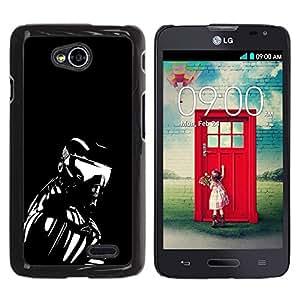 PC/Aluminum Funda Carcasa protectora para LG Optimus L70 / LS620 / D325 / MS323 Robot Ai Futurism Art Man Exosceleton Machine / JUSTGO PHONE PROTECTOR